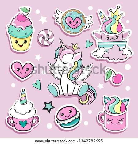Fashion patch badges unicorn and sweets with eyes in kawaii style