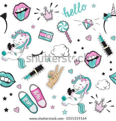 Fashion Patch Badges with beautiful girl items and unicorn pop art elements seamless pattern