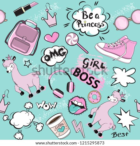 Fashion Patch Badges with girl pink items and pink llama. Pop art elements seamless pattern on a blue background