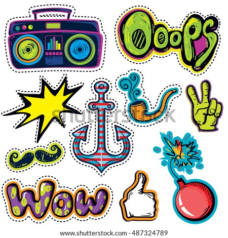 Fashion patch badges with hands ok, victory, record player, mustache, anchor, wow, explosive, tobacco pipe and other elements. Set of stickers hipsters for boy, patches in cartoon style
