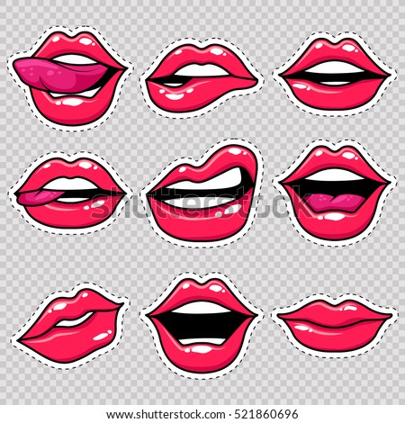 fashion patch badges with lips
