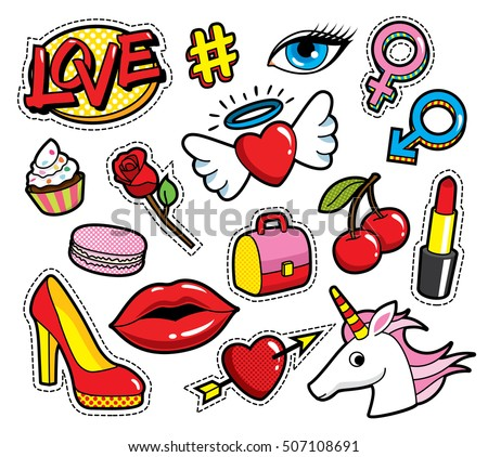 Fashion Patch Badges With Lips Hearts Love And Other Elements Vector Illustration Isolated