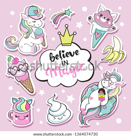 Fashion patch badges with unicorn and sweet kawaii #1364074730