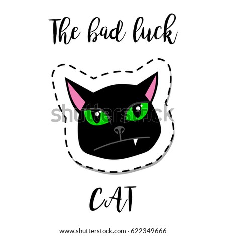 Cat Stock Quote Enchanting Fashion Patch Element With Quote The Bad Luck Cat Black Cat Face