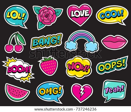 Fashion patch set on black background. Cool stickers of cherry, strawberry, watermelon, lips, rose flower, rainbow, hearts, retro comic bubbles, etc. Cartoon 80s-90s pop art style, vector illustration #737246236