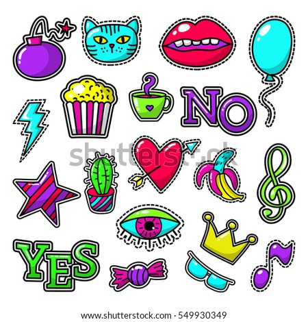 fashion patch vector set with...