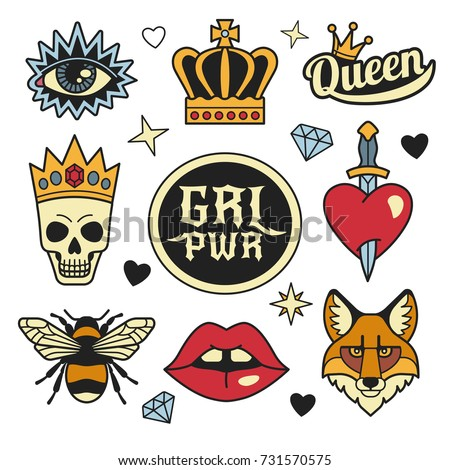 Fashion patches collection. Vector illustration of medieval style female badges and symbols, such as crown, heart with dagger, skull in crown, fox face, lips, eye and bee. Isolated on background.