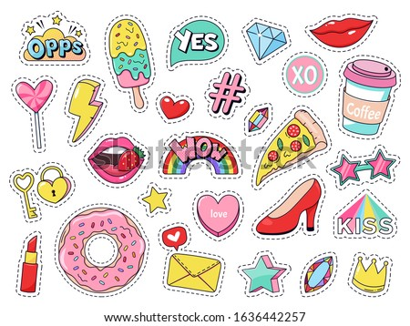 Fashion patches. Comic doodle girl badges, teenage cute cartoon stickers with funny food, pizza and donut, red lips and gems isolated vector illustration set. modern fabric 90s kawaii labels