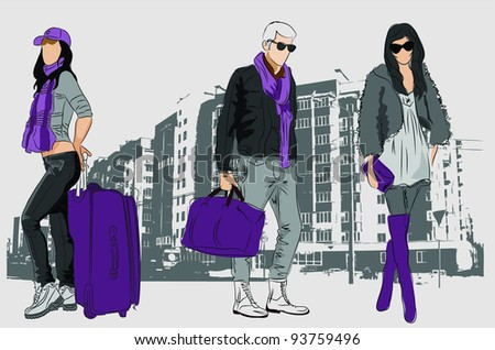 Fashion people with bags on urban background