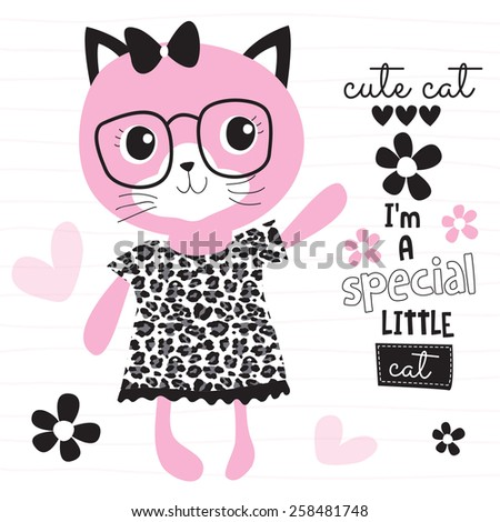 fashion pink cat vector