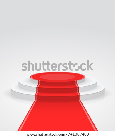 Fashion podium with red carpet. Round pedestal isolated on white background