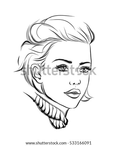 fashion portrait lineart