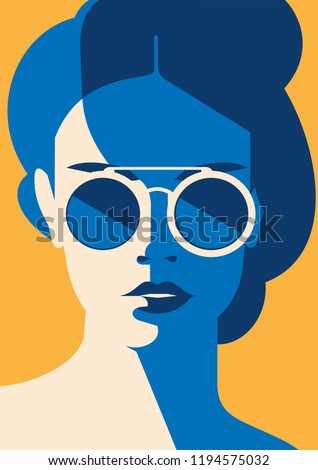 stock-vector-fashion-portrait-of-a-model-girl-with-sunglasses-retro-trendy-colors-poster-or-flyer