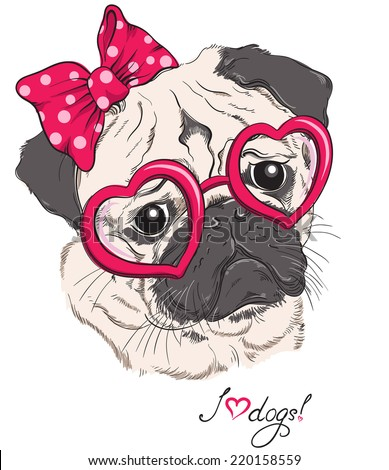 Fashion portrait of pug dog hipster in hearts glasses isolated on white Vector hand drawn illustration