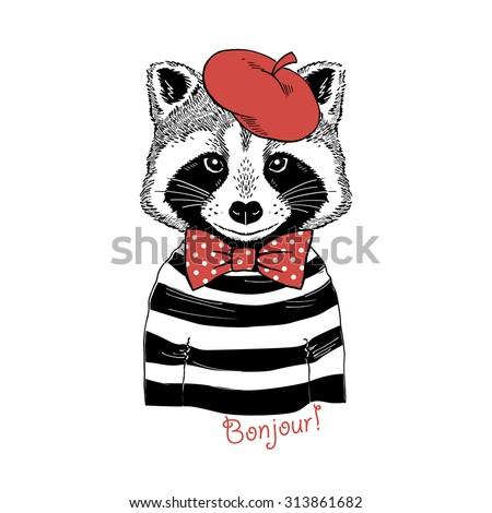 fashion portrait of raccoon