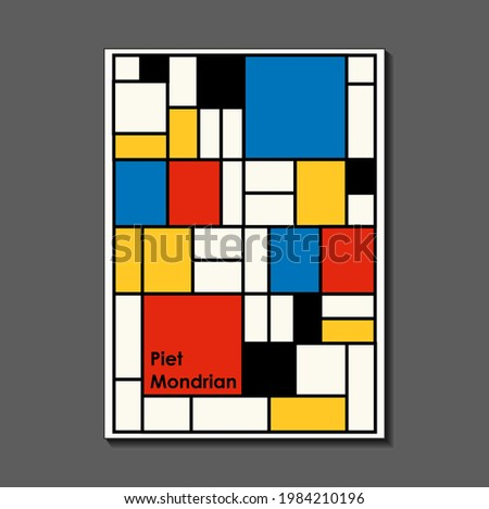 Fashion poster inspired by postmodern Piet Mondrian. Neoplasty, Bauhaus. Useful for interior design, background, poster design, first page of the magazine, high-tech printing, cover. Stock fotó ©