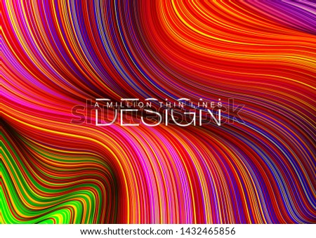 Fashion poster million thin lines luxury design. Liquid wave lines fashion background. Beautiful flowing drape textiles from multitude of thin threads. Vector illustration vogue drape banner EPS10 set