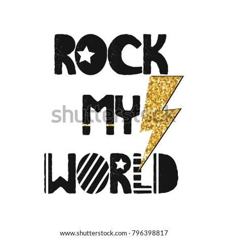 fashion print with slogan rock