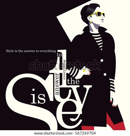 Fashion quote with woman in style pop art. Vector illustration
