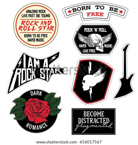 Fashion Rock Music Slogan patch badges Skull, Guitar,  Rose, Girl, with Vector illustration isolated on white background. Set of stickers, pins, patches in grunge punk style.