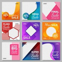 Fashion sale for social media post template. Vol.6