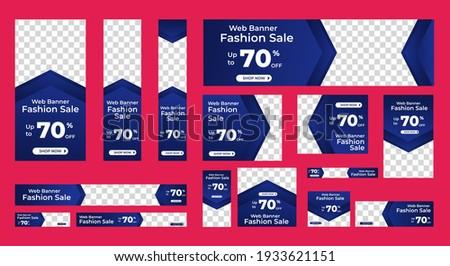 Fashion sale web banner design template Set. Horizontal, vertical web banner. Modern abstract cover header background for website design, Social Media Cover ads banner, flyer, invitation card Photo stock ©