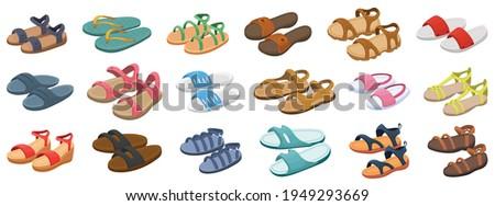 Fashion sandal vector illustration set on white background . Summer shoe of sandal cartoon vector set icon. Isolated cartoon icon summer footwear. Stock foto ©