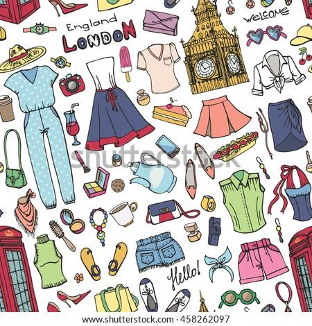 0c2c68755790 Fashion seamless pattern background.London