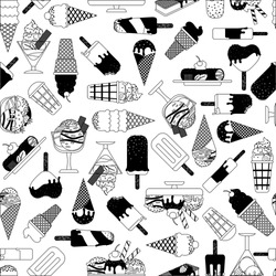 Fashion seamless pattern with black and white stylized ice cream. Vector illustration