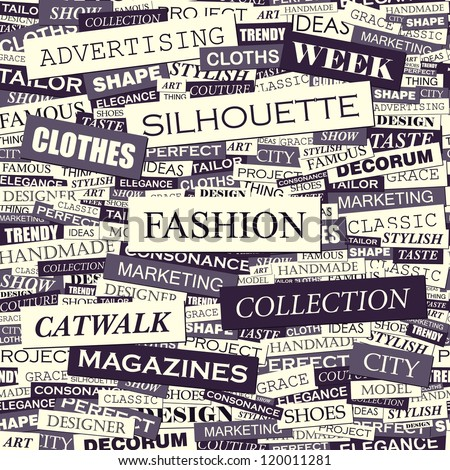 FASHION. Seamless vector pattern. Word collage. Vector illustration.