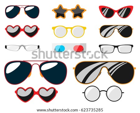 e1d7c4561a29 Fashion set sunglasses accessory sun spectacles plastic frame modern eyeglasses  vector illustration.