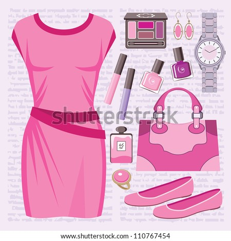 Fashion set with a casual dress. vector