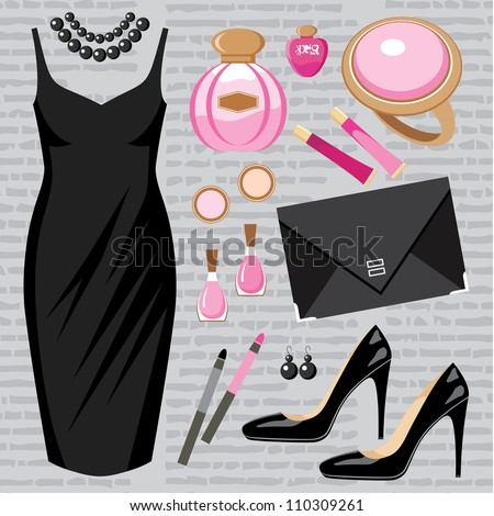 Fashion set with a cocktail dress. vector