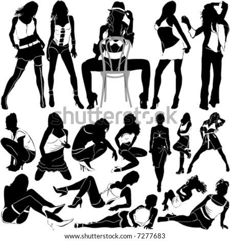 stock vector : fashion sexy women vector 2 (clothes detail)