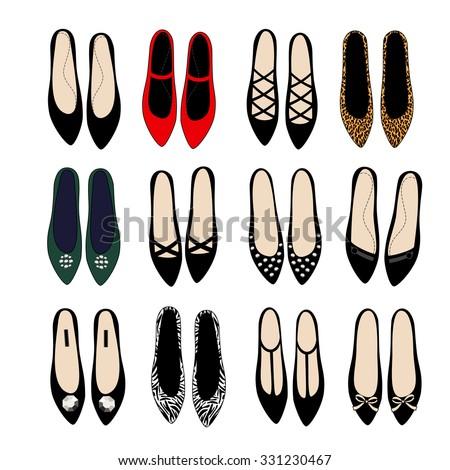 fashion shoes set illustration