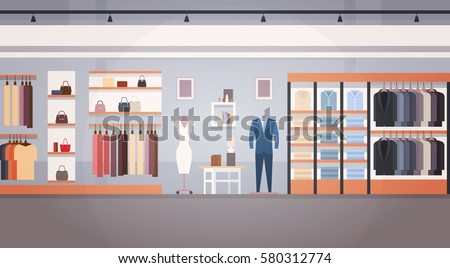 Fashion Shop Interior Clothes Store Banner With Copy Space Flat Vector Illustration