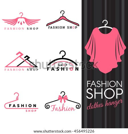 Fashion shop logo - Sweet ping shirts and Clothes hanger logo vector set design