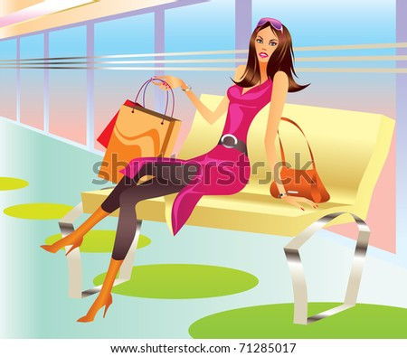 fashion shopping girl with bag relax in mall - vector illustration ...