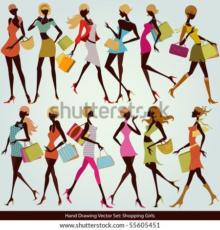 fashion shopping girls illustration set