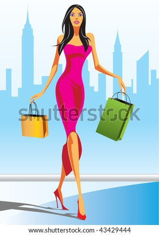 fashion shopping girls with shopping bag in New York - vector illustration