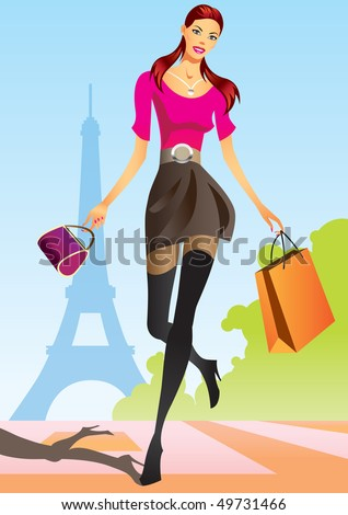 fashion shopping girls with shopping bag in Paris - vector illustration