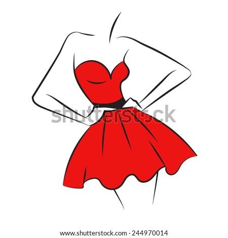 fashion silhouette 2 red dress