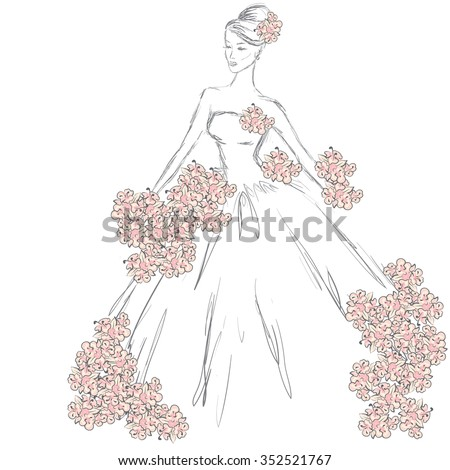 fashion sketch a girl in a