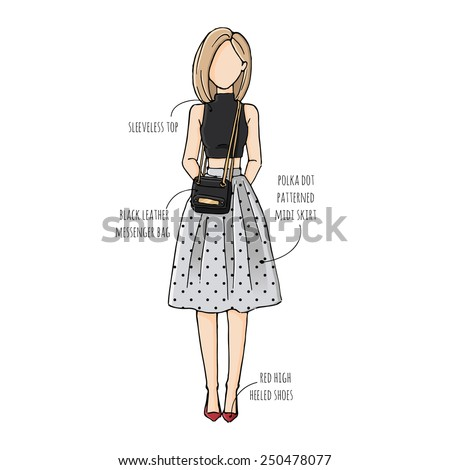 royalty free fashion sketch drawing girls in 250478095 stock photo