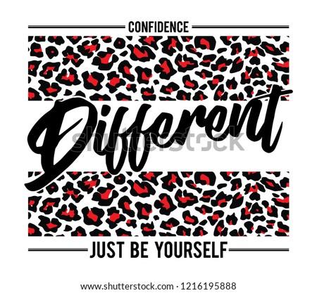 Fashion slogan print. animal texture vector graphic for tee printing.