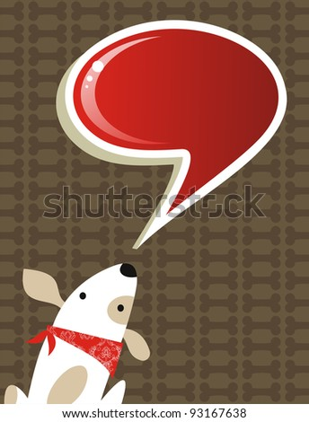 Fashion social media dog with speech bubble over brown background. Vector file available