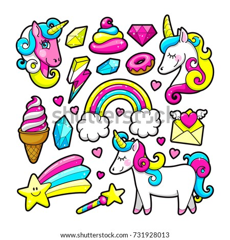 Fashion stickers set in 80s-90s pop style. Unicorn, crystal, diamond, ice-cream, rainbow, donut. Vector illustration.