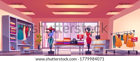 Fashion store interior with counter, mannequins, hangers and showcase with dresses and shoes. Vector cartoon illustration of boutique inside, clothes shop with discount