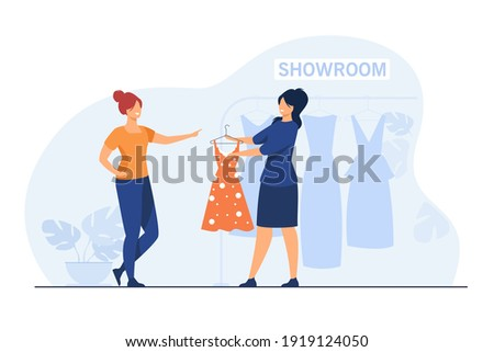 Fashion store seller helping customer in showroom. Consultant giving dress to woman for trying. Flat vector illustration. Shopping, buying cloth concept for banner, website design or landing web page