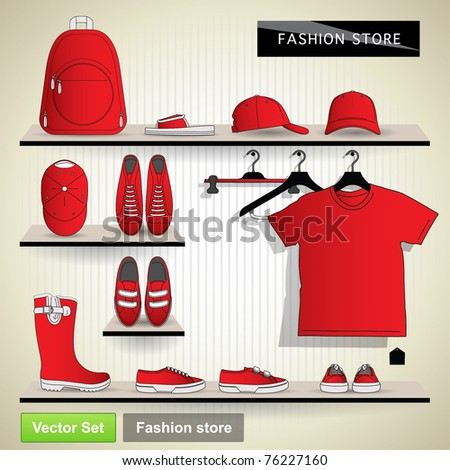 Fashion store. Vector set